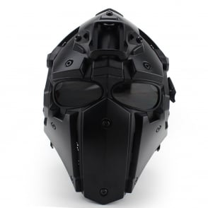 Full Face Safety Helmet Black with Transparent Lenses