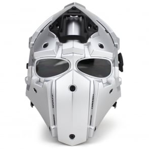 Full Face Safety Helmet Silver with Black Lenses