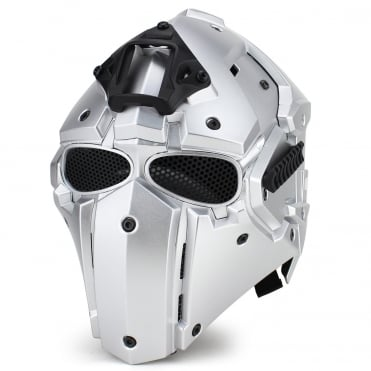 Full Face Safety Helmet  Silver with Mesh Lenses