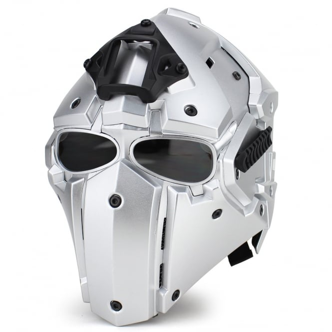 Full Face Safety Helmet Silver with Transparent Lenses