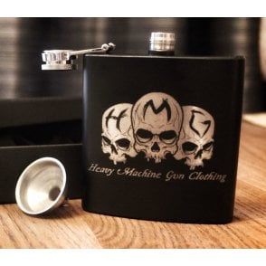Heavy Machine Gun Clothing HMG Original Logo Hip Flask - Matte Black