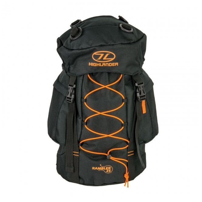 Highlander Outdoor Rambler 25 Rucksack - Black/Orange