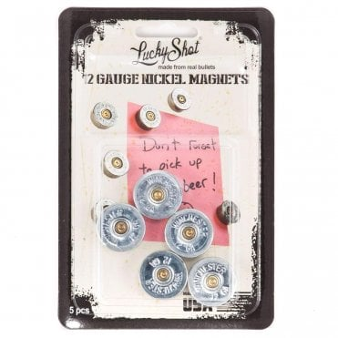 Lucky Shot 12 Gauge Cartridge Magnets Nickel Plated - 5 Pack