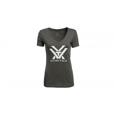 Vortex Optics Women's V-Neck Short Sleeve Logo Tee - Dark Grey