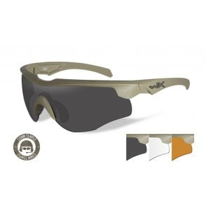Wiley X Rogue Glasses - Grey/Clear/Rust Lenses / Tan Frame