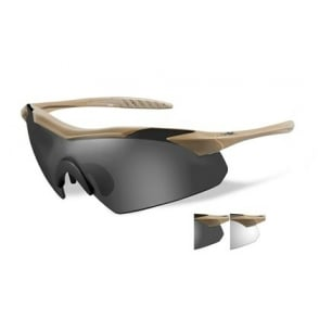 Wiley X WX VAPOR - Smoke Grey + Clear Lens / Matte Tan Frame