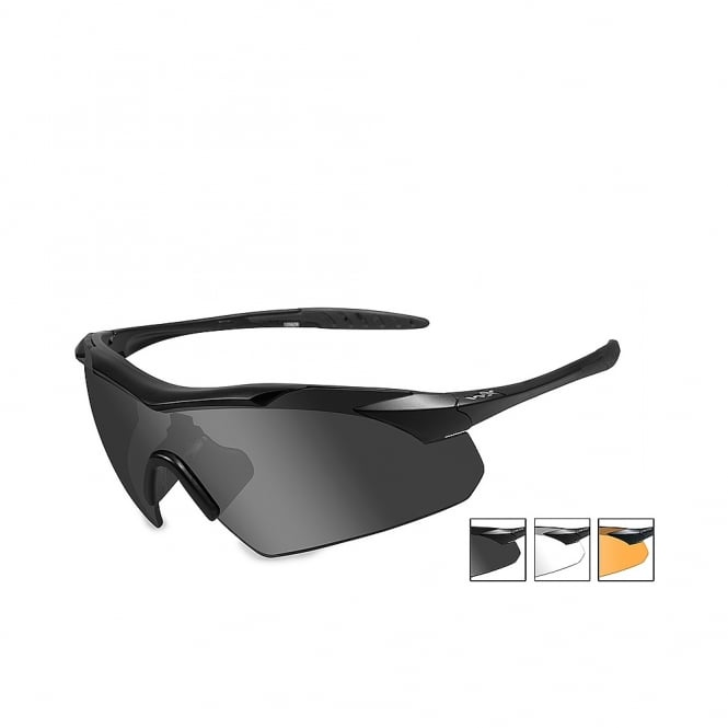 Wiley X WX VAPOR - Smoke Grey + Clear + Light Rust Lenses / Matte Black Frame
